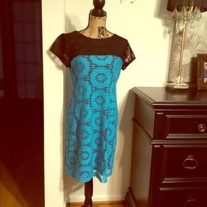 Maggy London blue and black dress